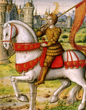 Joan of Arc on horse back